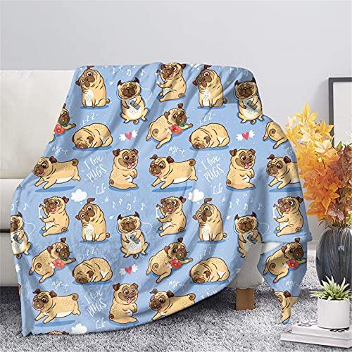 HUGS IDEA Manta de sofá con diseño de caricatura de perro de sherpa, manta de felpa con nota de música de cachorro, corazón para mujeres, hombres, amantes de perros, Loungechair cama, azul - XL