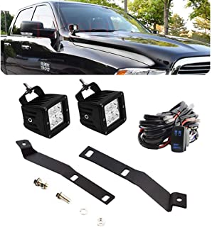Dasen Pair 3 Inch 18W LED Cube Lights Side Hood Hinges Mount Brackets w/Wiring Kit Fit 2009-2019 DODGE RAM 1500 2500 3500 (Come With Installation Instructions)