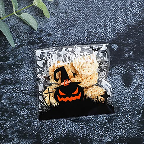 MaxMatt 100 bolsas de galletas de dulces de Halloween para niños, truco o golosinas para fiestas, postres, meriendas, regalo de calabaza, fantasma, feliz Halloween decoración de fiesta