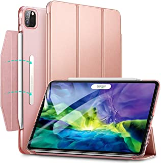 """ESR Yippee Trifold Smart Case for iPad Pro 11 2020 & 2018, Lightweight Stand Case with Clasp, Auto Sleep/Wake [Supports Pencil 2 Wireless Charging], Hard Back Cover for iPad Pro 11"""", Rose Gold"""