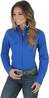 Wrangler Women's Western Yoke Two Snap Flap Pocket Shirt Blouse