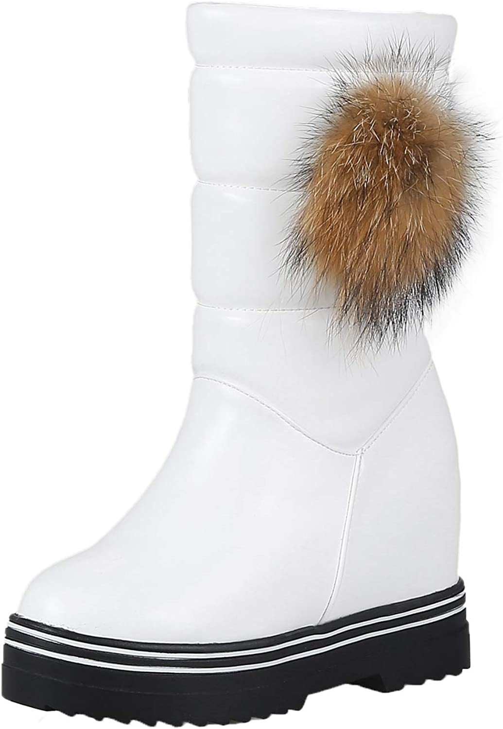 Vitalo Womens Pom Pom Wedge Mid Calf Snow Boots with Fur Warm Winter shoes