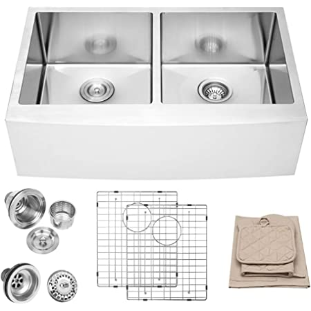 33 Farmhouse Kitchen Sink - Lordear 33 Inch Stainless Steel 16 Gauge Apron Front Double Bowl 50/50 Farm Kitchen Sink