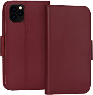 "FYY Case for iPhone 11 Pro Max 6.5"", Luxury [Cowhide Genuine Leather][RFID Blocking] Wallet Case, Handmade Flip Folio Case with [Kickstand Function] and[Card Slots] for iPhone 11 Pro Max 6.5"" Wine Red"