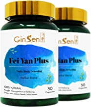 GinSen 2 x Fei Yan Plus 60 Caps with Feiyan Tea Extract Helps with Colon Cleanse Burns Fat Weight Loss Constipation Liver Cleanse Vegan Vegetarian Natural Chinese Remedy Made in UK Estimated Price : £ 19,60