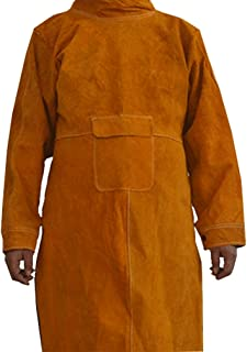 XL Welding Jacket, Sleeved Apron for Men, Heavy Duty Anti-flame Cowhide Leather Welding Jackets, Leather Welder Coat with Sleeves, Flame Resistant Welding Cape for Most Men WQ23 (Brown-XL)