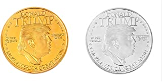 Peyan Donald Trump Commemorative Coin,45th President of The United States Collectible,Republican Collectibles Challenge Memorabilia Gift Novelty Coin,Gold and Silver Plated Set of 2