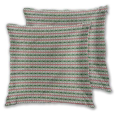 Xlcsomf Christmas Pillowcase Concealed zipper, 24 x 24 Inch Holiday Borders Easy to care Christmas decoration Set of 2