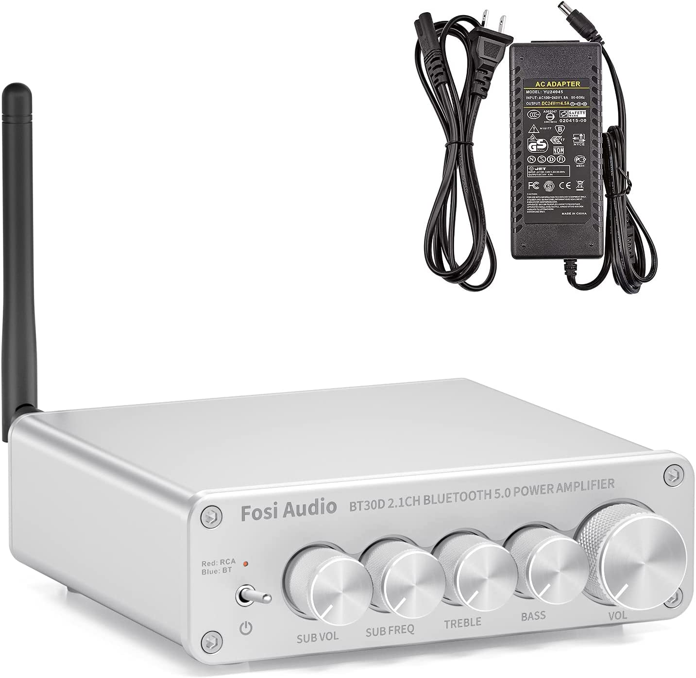 Fosi Audio 50Wx2+100W Mini Bluetooth 5.0 Power Amplifier Mini Hi-Fi Stereo 2.1 Channel Wireless Receiver Amp for Home Outdoor Passive Speakers/Powered Subwoofer (Sliver)