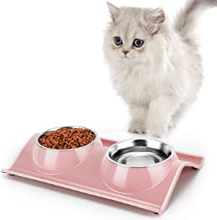 GRANDSEA Double Dog Bowls with Stand, 11 oz Stainless Steel Cat Dish, Dual Use Pet Food and Water Feeder for Small Dogs and Cats
