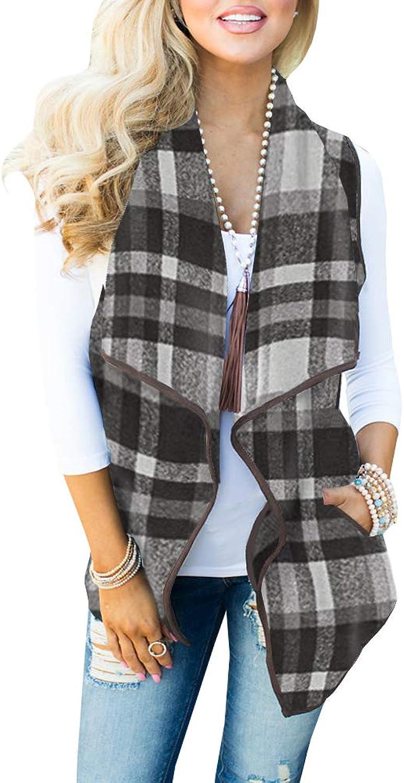 Womens Vest Jackets Sleeveless Cardigans Drape Front Long Plaid Cardigan with Pockets