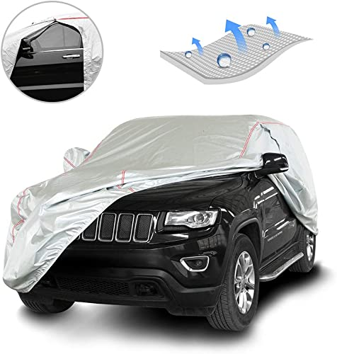 discount Tecoom lowest Hard Shell Breathable Material Door Shape Zipper Design Waterproof UV-Proof Windproof Car Cover for All Weather Indoor discount Outdoor Fit 180-195 Inches SUV outlet sale