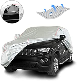 Tecoom Hard Shell Breathable Material Door Shape Zipper Design Waterproof UV-Proof Windproof Car Cover for All Weather Indoor Outdoor Fit 196-210 inches SUV