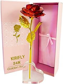 24K赤いローズ 彼女への贈り物 金メッキローズ プレゼントバラ造花インテリア飾りお礼用ギフトボックス バレンタインデー、ホワイトデー、デート用、誕生日、母の日、結婚式、記念日、お祝いに適用 透明スタンド付き