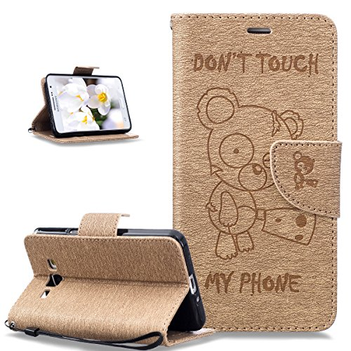 Coque Galaxy Grand Prime,Etui Galaxy Grand Prime,Gaufrage Tronçonneuse ours Don't Touch Py Phone Cuir PU Etui Housse Coque Portefeuille supporter Flip Case Etui Coque pour Galaxy Grand Prime,Gold