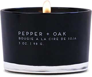 Paddywax Candles Statement Collection Scented Candle, 3-Ounce, Pepper + Oak