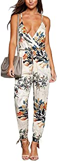Xuan2Xuan3 Floral Printed Jumpsuit Women Halter Sleeveless Stretch Wide Long Pants Casual Jumpsuit Rompers