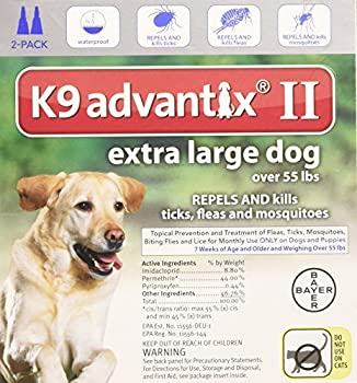 Bayer K9 Advantix II Flea And Tick Control Treatment for Dogs Over 55 Pound 2-Month Supply