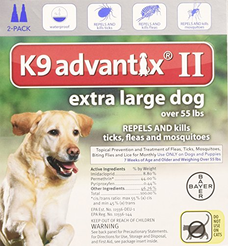 Bayer K9 Advantix II, Flea And Tick Control Treatment for Dogs, Over 55 Pound, 2-Month Supply
