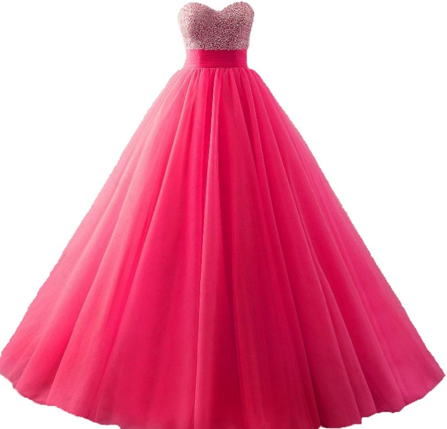 Diandiai Quinceanera Dresses Tulle Beads Ball Gown Long Prom Dress