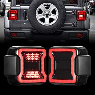Smoked LED Tail Lights for 2018-2019 Jeep Wrangler JL, w/Running Light, Brake Turn Signal Lamp and Reverse Lamps Function, Pair (Smoked Lens)