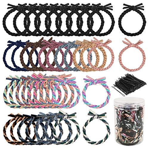 40 Stück stylische geflochtene Haargummis, Super Elastische Original Haargummis mit starkem Halt Haargummi mehrfarbig & Haarnadeln schwarz, Haarschmuck für dickes Haar von...