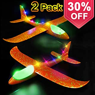 Glider Airplane Model Jet Kit, 2 Pack LED Light Up Glider Airplanes Toys for Kids, Manual Throwing Foam Glider Plane for Boys Girls Outdoor Sport Game Flying Toys Gifts for Kids Outdoor Plane