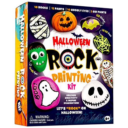 XXTOYS Halloween Rock Painting Kit - Glow in The Dark Rock Painting for Kids - Arts and Crafts for Kids 4-6 - Hide and Seek Activities, Great Craft Creative Halloween Toy & Gift for Ages 4-8