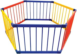 YEHL Playpen Wood Baby Kids 6-Panel Safety Play Center Yard  Multicolor Pet Safety Fence for Indoor  amp  Outdoor  61cm Tall  Size Diagonal 165cm
