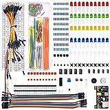 EWDF 1 Set Electronics Component Kit de Inicio básico con 830 Puntos de Corbata Resistador de Cables, Condensador, LED, Potenciómetro Conjunto de componentes electrónicos DIY