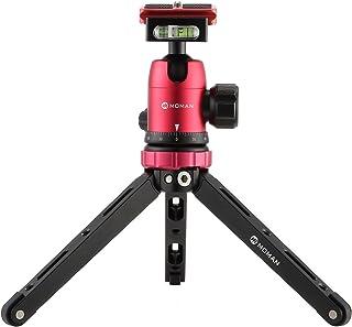 MOMAN 自由雲台 クイックシュー付き 360度回転可能 全景撮影 ミニ三脚 一眼レフとデジタルカメラ用 卓上三脚の抱き合わせ 赤い