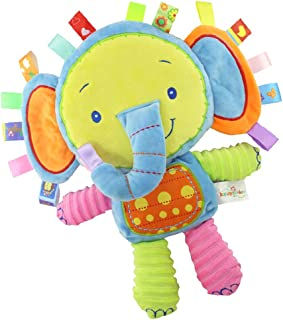 StoHua Taggies Security Blanket Elephant Stuffed Toy, Baby Plush Sensory Toy with Ribbons & Rattle,Baby Gifts for Newborns,Infant