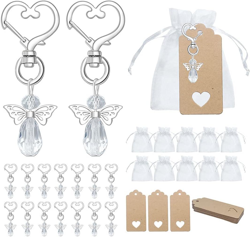 30 Colgantes de Bautizo de Boda, Colgantes de ángel de La Guarda para Invitados Amuleto de La Suerte con Bolsa de Organza Etiquetas de Papel Kraft para Regalo de Confirmación de Comunión de Navidad