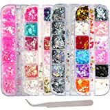 4 Boxes Holographic Nail Sequins Mixed Shapes Iridescent Glitter Flakes Hearts Star Moon DIY Design Manicure Nail Art Decorations Sets for Nail Art/Craft/Makeup (Style B)
