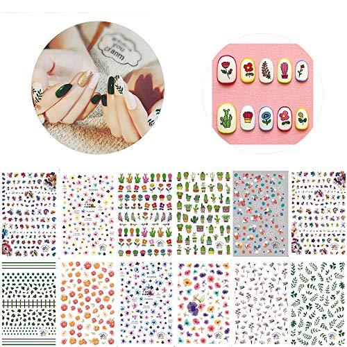 12 Blatt Nagelaufkleber Nail Art Dekoration 3D Nagelsticker Selbstklebend Nail Art Sticker Abziehbild Dekorationen, für DIY Nagel Kunst Dekoration für Fingernägel und Zehennägel