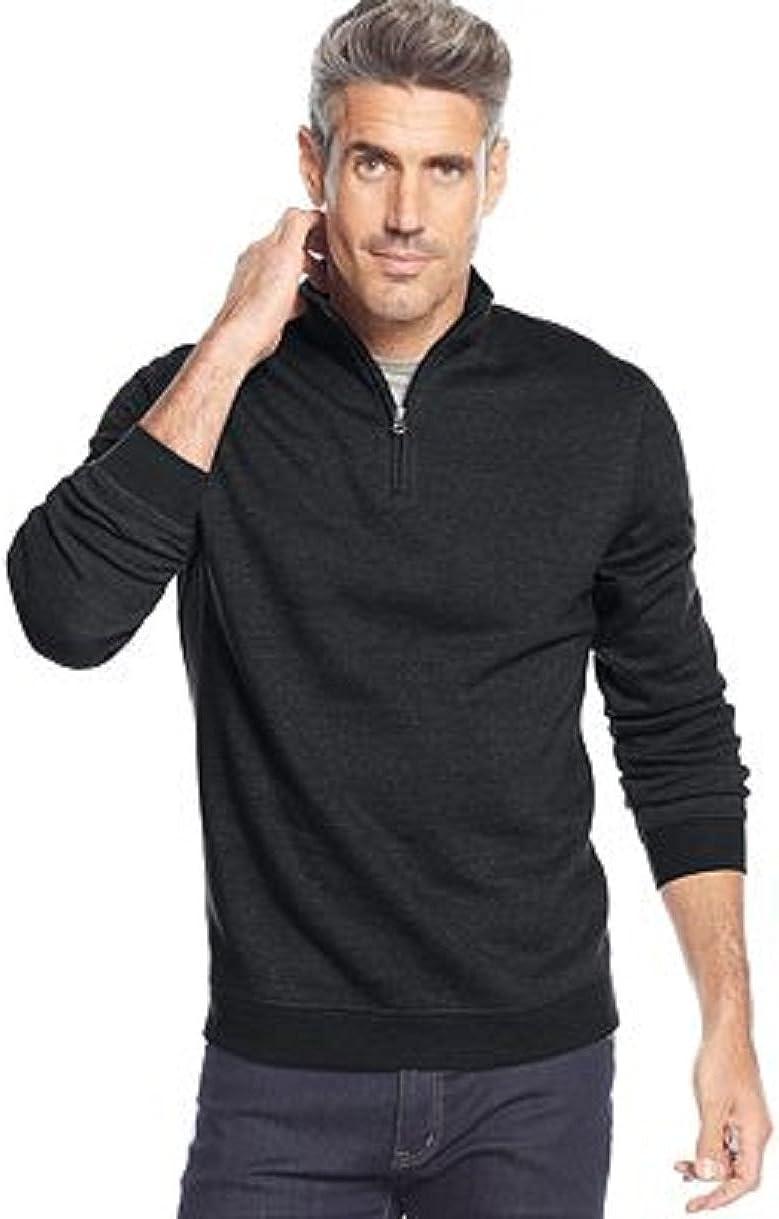 John Ashford Mens Big and Tall Long Sleeve Solid Quarter-Zip Pullover Black