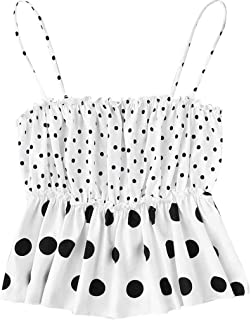 5c0ea1b40306 Coco-Z Fashion Summer Women Cold Shoulder Ruched Sleeveless Off Shoulder  Polka Dots Casual Sling