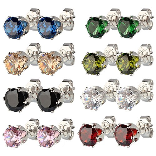8 Pairs Polygon Ear Studs Earring Set with Crystal Allergy Free Steel Needle Black / Pink / Champagne / Olive / Green / Red / White / Blue 5mm