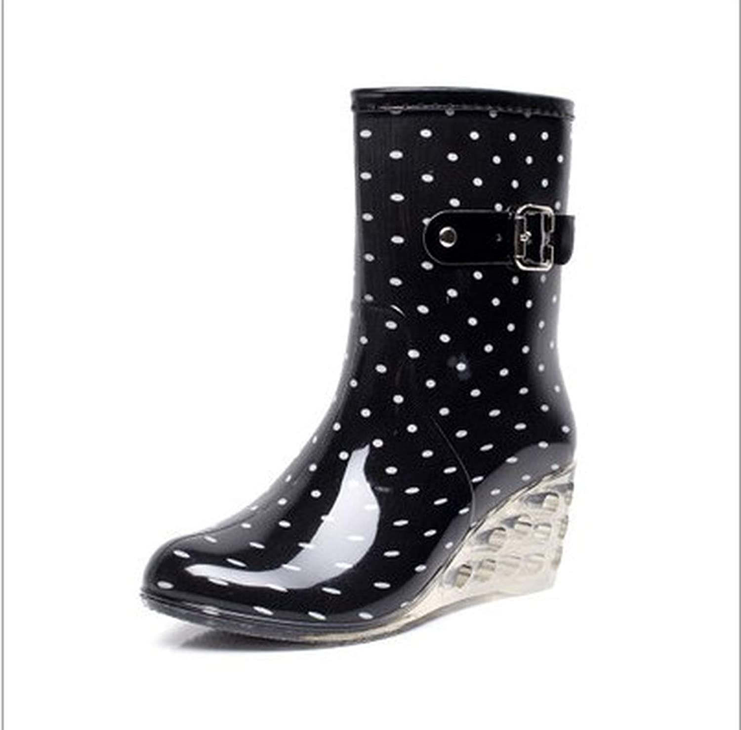 Hiviay Fashion PVC Rain Boots Waterproof Flat shoes Woman Rain Woman Water Rubber Zipper Boots Boot