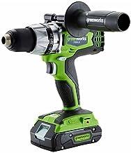 Greenworks Tools 673701607 Taladro Atornillador Sin Escobillas Inalámbrico, 24 V, Verde