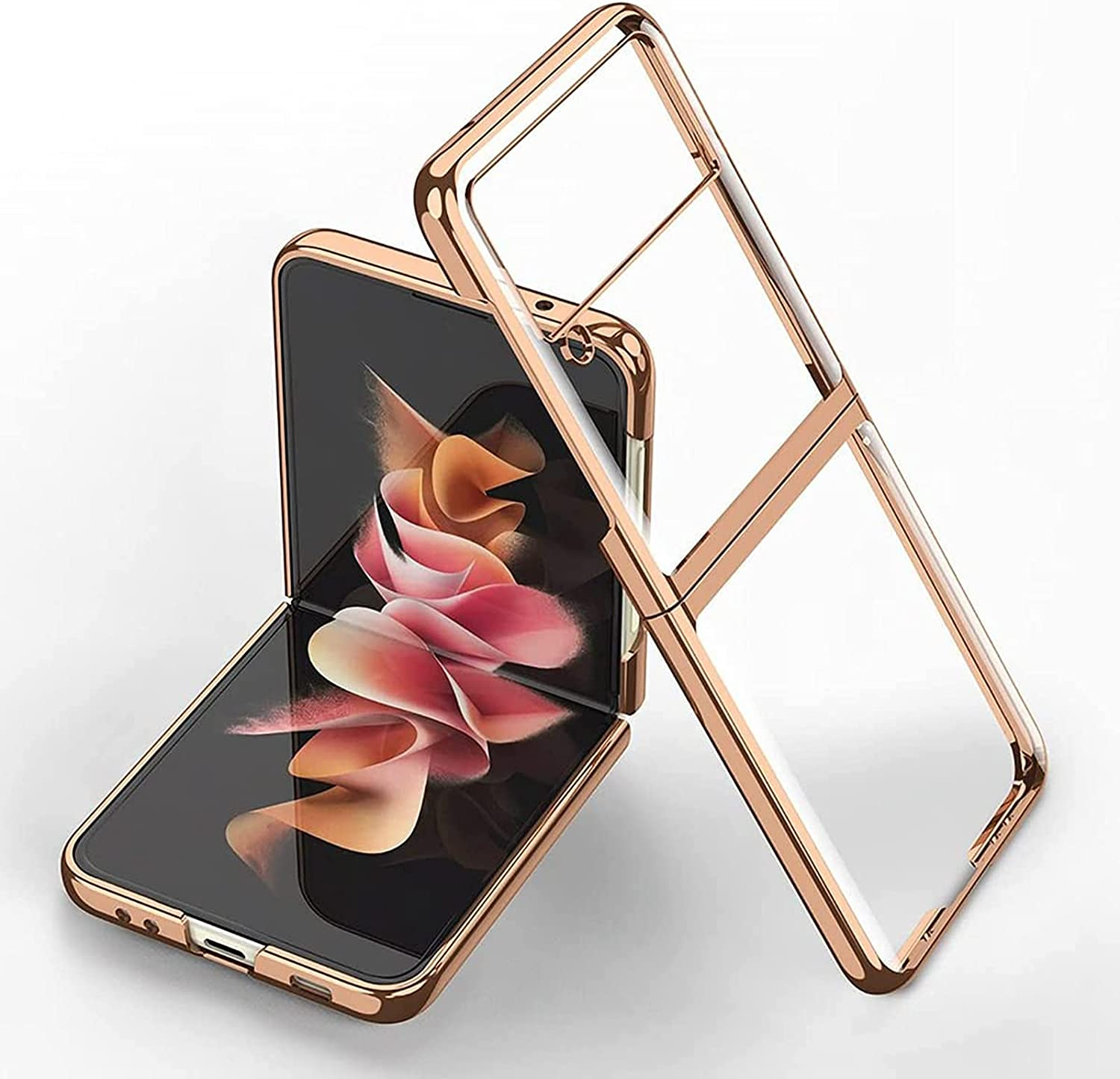 Z Flip 3 Case, Slim Case for Samsung Galaxy Z Flip 3, Luxury Transparent Plating PC Crystal Cove Finish Anti-Scratch Shockproof Protective Case for Samsung Galaxy Z Flip 3 5G. (Gold)