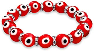 Colorful Turkish Glass Bead Good Luck Protection Evil Eye Stretch Bracelet for Women for Teen Rondelle Crystal Spacer Stac...