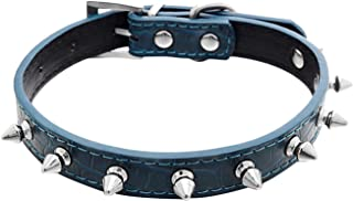 Fakeface Classic Pet Dog PU Leather Collar Spike Rivets Studded Dog Collar Basic Adjustable Buckle Neck Strap Collars for Cats Puppy Dogs
