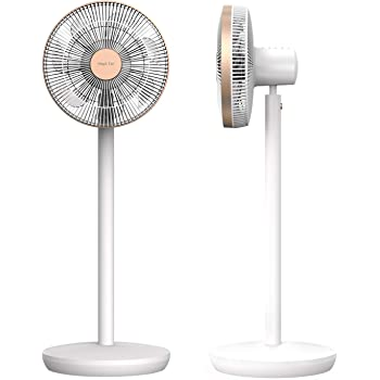 Beautitec Magic Fan(マジックファン)F450 DCモーター 360°自動首振りx上下調節角度-5°~90° 2.7kg超軽量設計 最大15mまで送風 自然風3段階+連続風3段階 1~7時間タイマー 半径10m操作可能な電波式リモコン 立ったまま本体操作可能 静音型 ≪2年保証≫ White x Rose Gold