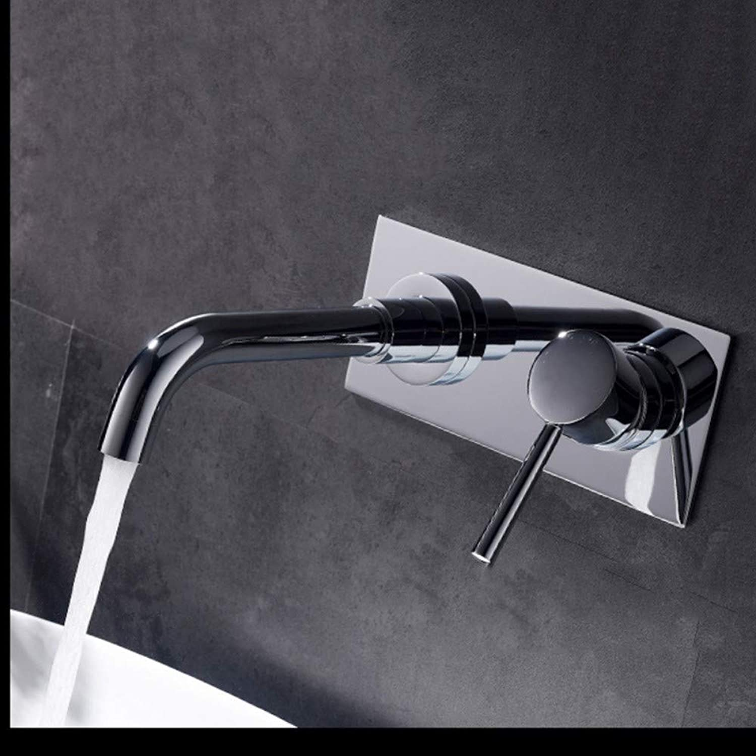 Taps Faucet Dark Wall-Mounted Copper Basin Faucet Black Bathroom Sink Hot and Cold Faucet, Chrome