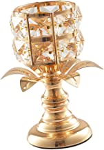 Fenteer Gold Crystal Candle Holder Tealight Holder Candlestick for Wedding Dinning Room Decoration - Golden, M