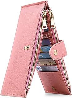 GOIACII Wallets for Women RFID Blocking Bifold Multi Card Case Purse with 2 Zipper Pockets