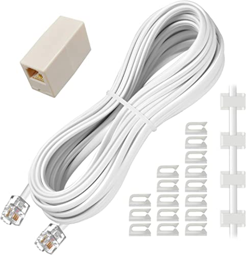 Phone Extension Cord 25 Ft, Telephone Cable with Standard RJ11 Plug and 1 in-Line Couplers and 20 Cable Clip Holders,...
