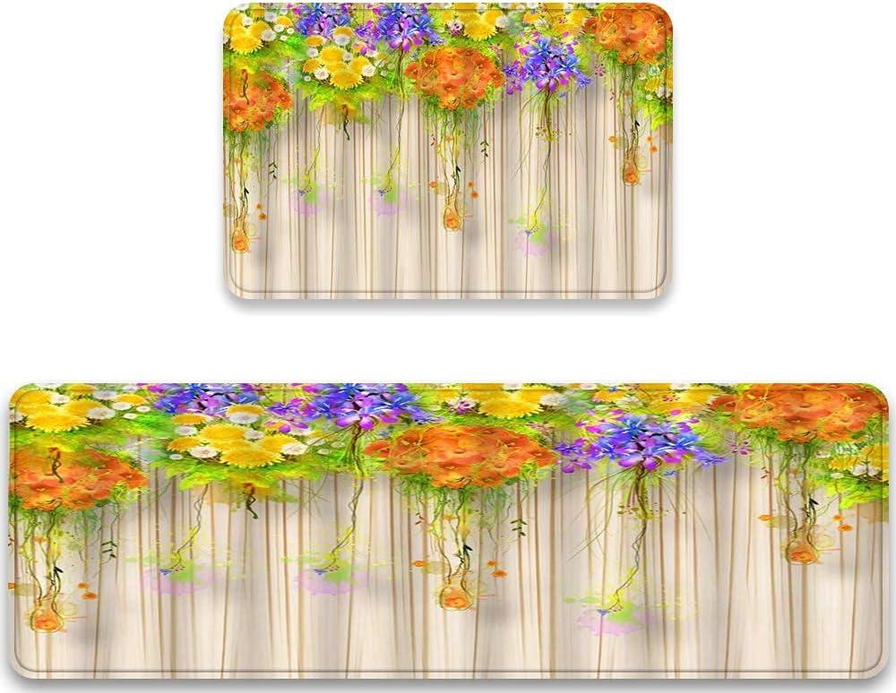 Kitchen Rugs Sets Vine Floral Under blast sales Daisy Max 52% OFF Watercolor Floret Cornflower
