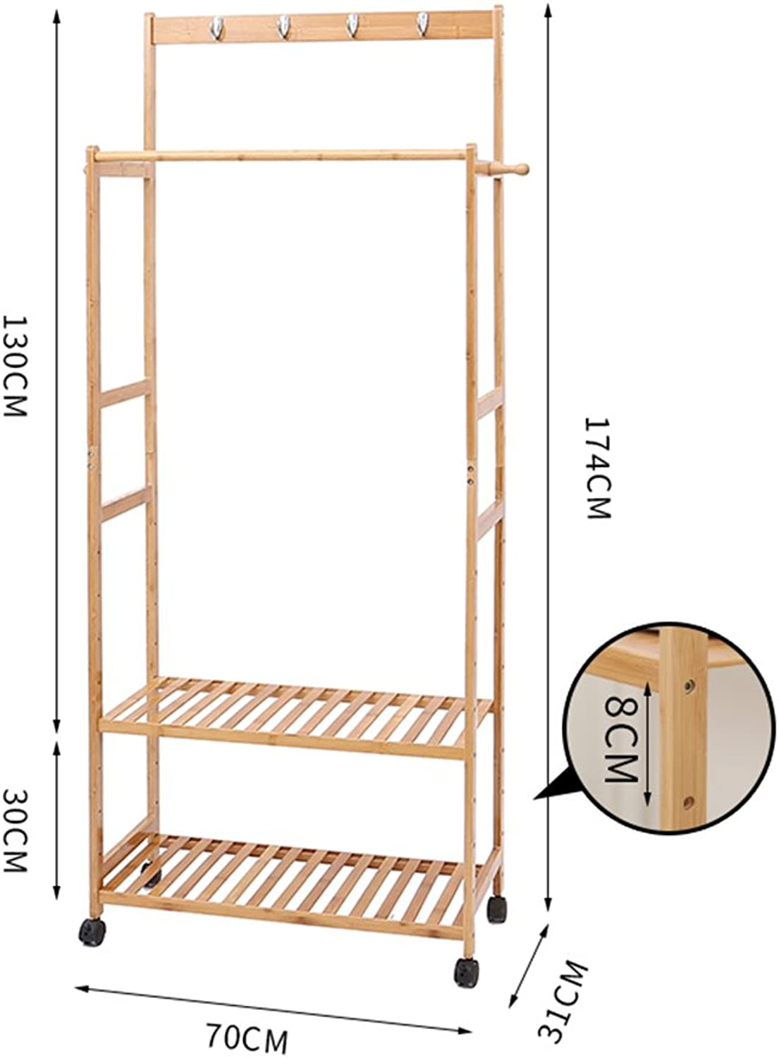 QIANGDA Floor Standing Coat Rack Bamboo Double Rod Adjustable Height with shoes Shelf, Wood color, 6 Sizes Optional (color   2 Tiers, Size   70 x 31 x 174cm)